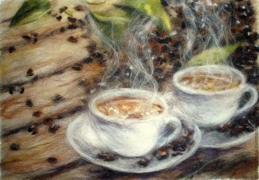 Натюрморт ручной работы. Ярмарка Мастеров - ручная работа. Купить Картина из шерсти Кофе для двоих. Handmade. Бежевый, купить картину