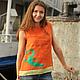 """Пляжные туники ручной работы. Ярмарка Мастеров - ручная работа. Купить Топ """"Апельсиновый с ящеркой"""". Handmade. Топ, льняная одежда"""