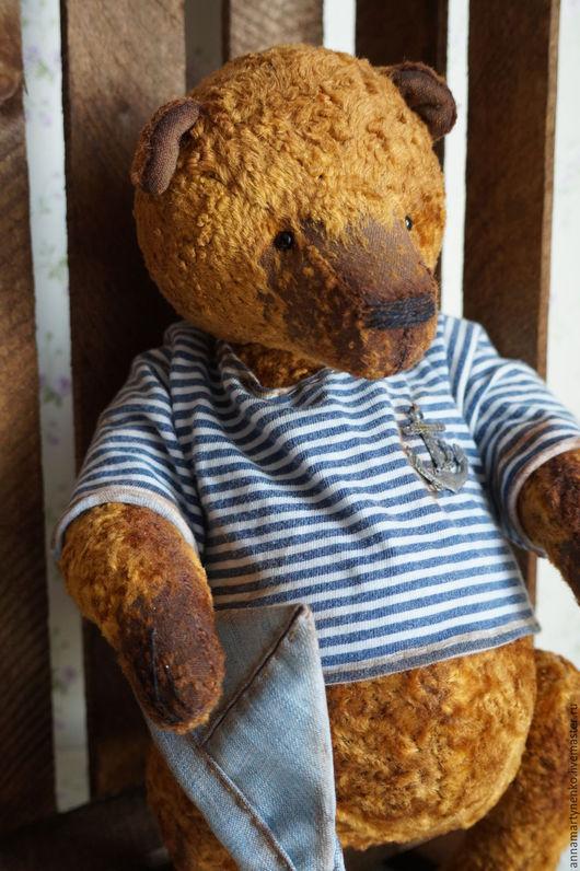 Мишки Тедди ручной работы. Ярмарка Мастеров - ручная работа. Купить Капитан - коллекционный плюшевый медведь. Handmade. Коричневый, медвежонок