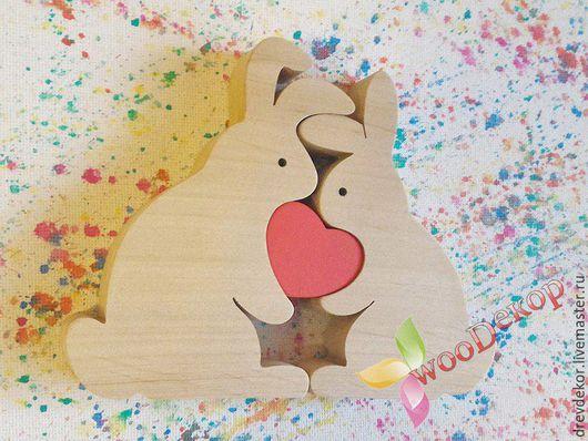 Развивающие игрушки ручной работы. Ярмарка Мастеров - ручная работа. Купить пазл зайчики с сердечком. Handmade. Ярко-красный