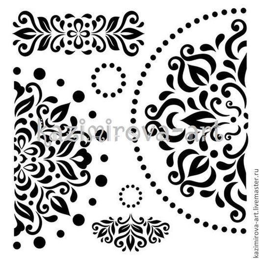 Декупаж и роспись ручной работы. Ярмарка Мастеров - ручная работа. Купить Трафарет Узор-салфетка 15,2х15,2см толщина 0,15мм. Handmade.