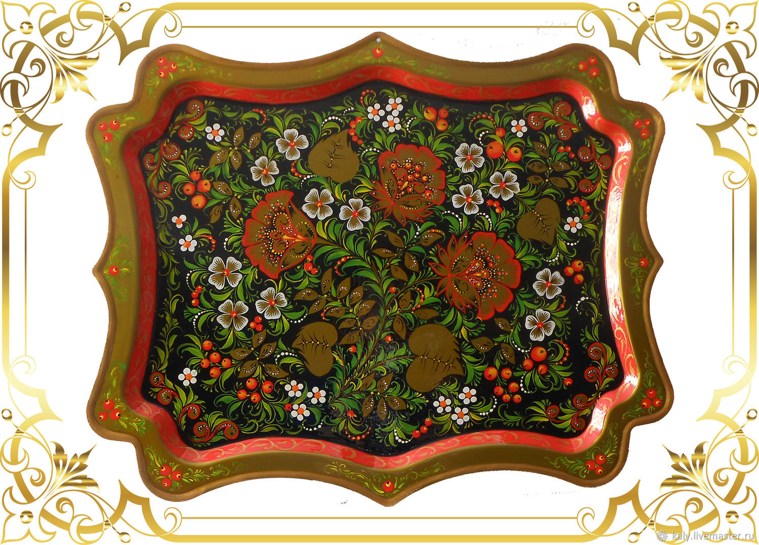 Panel on the wall shaped tray with hand painted Khokhloma, Panels, St. Petersburg,  Фото №1