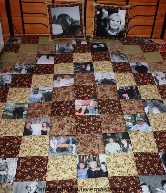 """Текстиль, ковры ручной работы. Ярмарка Мастеров - ручная работа. Купить Лоскутное покрывало с ФОТОГРАФИЯМИ  """"Brown""""  --  с фото. Handmade."""
