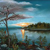 Картины и панно handmade. Livemaster - original item Pictures: Evening on Ladoga lake. Priozersk. Handmade.