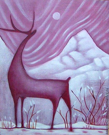 Животные ручной работы. Ярмарка Мастеров - ручная работа Картина  Скоро  весна  олень  холод    акрил. Handmade.