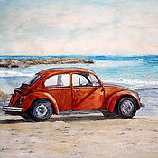 """Картины и панно ручной работы. Ярмарка Мастеров - ручная работа Акварельная картина """"Прогулка вдоль моря"""". Handmade."""