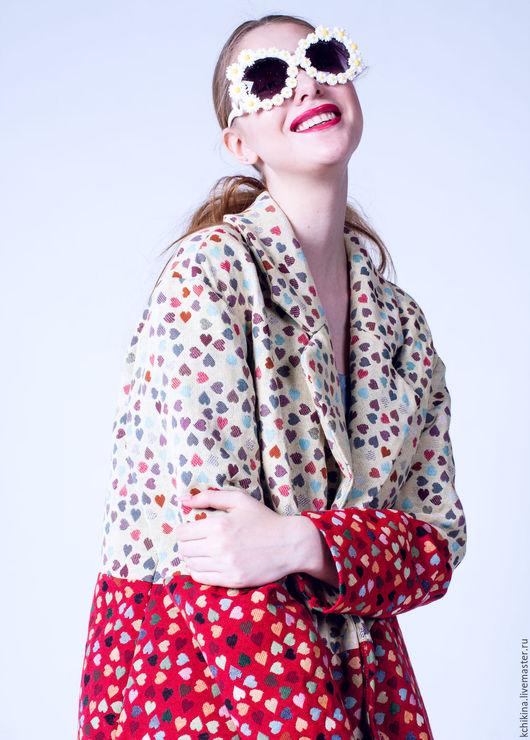 """Верхняя одежда ручной работы. Ярмарка Мастеров - ручная работа. Купить """"Сердечное"""" пальто. Handmade. Пальто, пальто из гобелена, гобелен"""