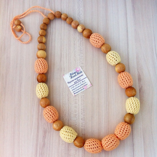 Слингобусы ручной работы. Ярмарка Мастеров - ручная работа. Купить Слингобусы сливочно-персиковые. Handmade. Слингобусы, бусы, малыш, персиковый