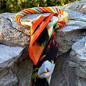 Украшения ручной работы. Ярмарка Мастеров - ручная работа Оплетенный бисером платок Апельсин. Handmade.