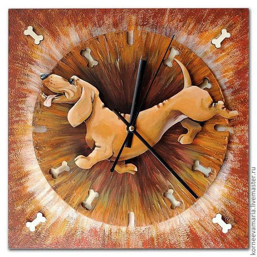 """Часы для дома ручной работы. Ярмарка Мастеров - ручная работа. Купить Часы """"Веселая такса"""". Handmade. Рыжий, часы для дома"""