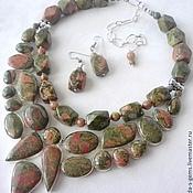 Украшения handmade. Livemaster - original item NECKLACE 2niti EARRINGS - UNAKITE, JASPER beads.. Handmade.