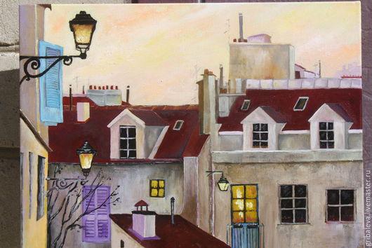 Пейзаж ручной работы. Ярмарка Мастеров - ручная работа. Купить Картина маслом  Париж Крыши 30 на 40 см. Handmade.