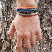 Украшения handmade. Livemaster - original item A leather bracelet with Rainbow stripes. Handmade.