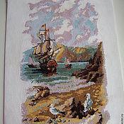Картины и панно ручной работы. Ярмарка Мастеров - ручная работа Вышитая крестиком картина, морской пейзаж в пастельных тонах. Handmade.