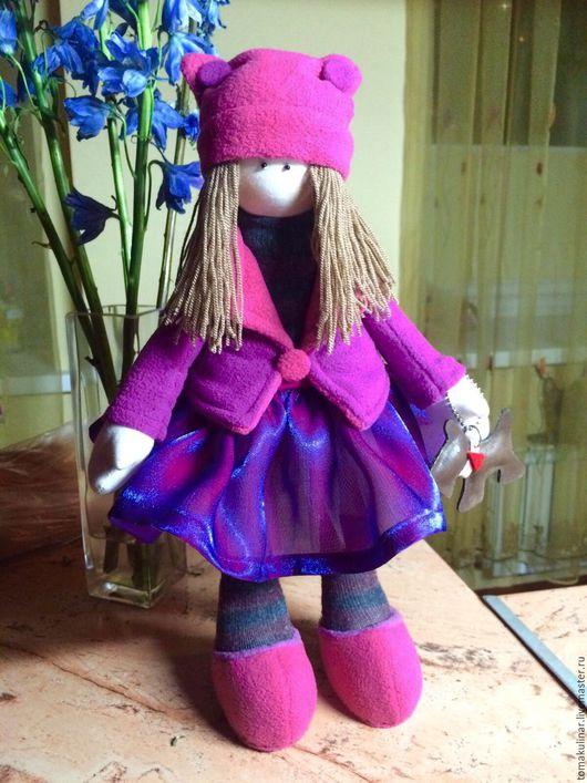 Куклы тыквоголовки ручной работы. Ярмарка Мастеров - ручная работа. Купить Большеножка Анника. Handmade. Фуксия, тыквоголовая кукла, трикотаж