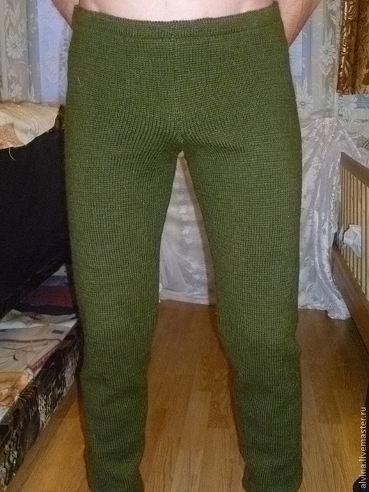 Для мужчин, ручной работы. Ярмарка Мастеров - ручная работа. Купить Рейтузы мужские шерстяные. Handmade. Тёмно-зелёный, брюки
