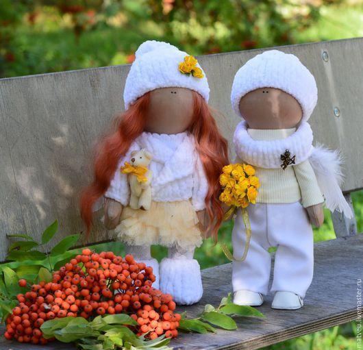 Куклы тыквоголовки ручной работы. Ярмарка Мастеров - ручная работа. Купить Ангелы. Handmade. Белый, подарок на любой случай