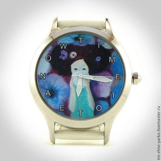"""Оригинальные дизайнерские наручные часы ручной работы """"Time to tea now""""."""