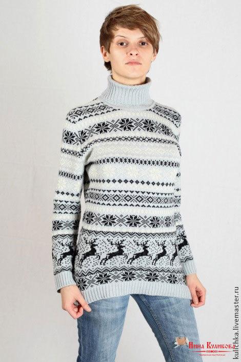 Кофты и свитера ручной работы. Ярмарка Мастеров - ручная работа. Купить Вязаный свитер Скандинавские мотивы. Handmade. Серый