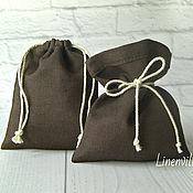 Материалы для творчества handmade. Livemaster - original item Bags, linen cotton brown, 10х15 cm.. Handmade.