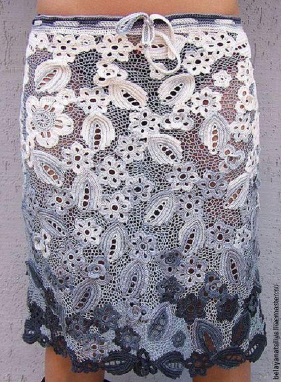Вязание юбки ирландским кружевом