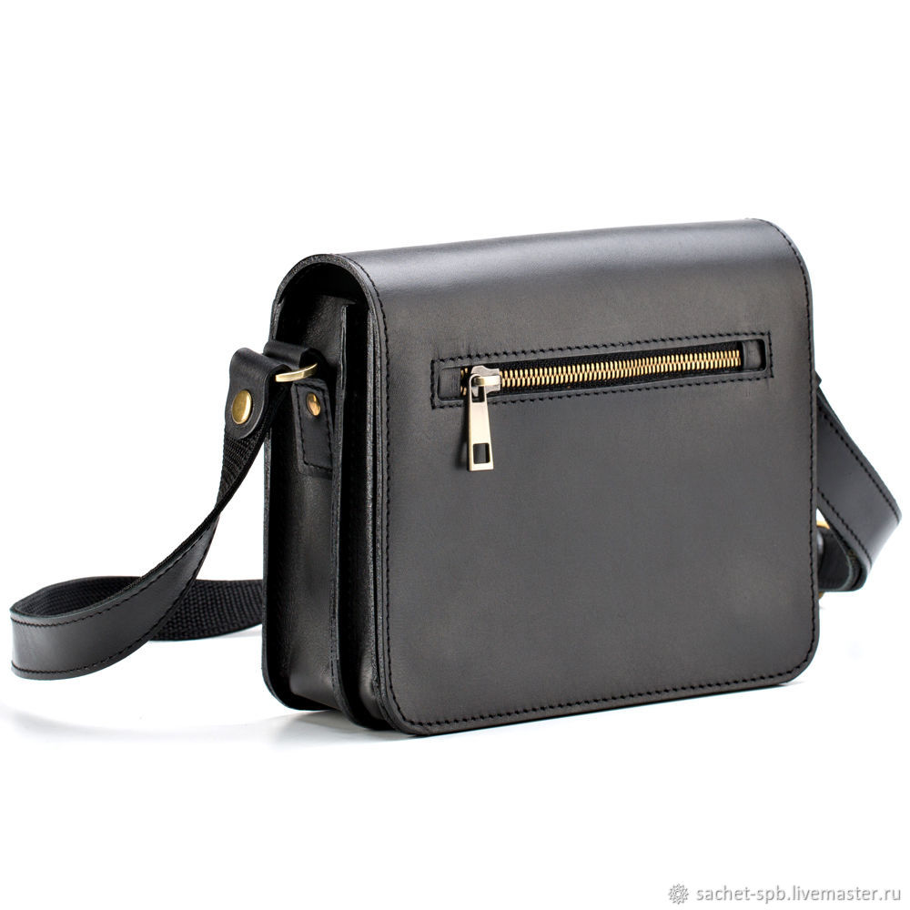 "Кожаная сумка ""Клаус"" (черная), Classic Bag, St. Petersburg,  Фото №1"
