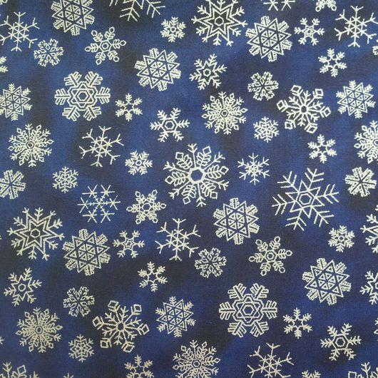 Шитье ручной работы. Ярмарка Мастеров - ручная работа. Купить Снежинки на синем. Handmade. Хлопок 100%, хлопок США