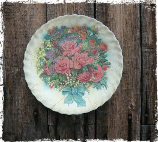 """Тарелки ручной работы. Ярмарка Мастеров - ручная работа. Купить Декоративная тарелка-панно """"Аромат розовых роз"""". Handmade."""