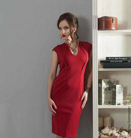 Платья ручной работы. Ярмарка Мастеров - ручная работа. Купить Платье Fiore red. Handmade. Ярко-красный, офисный стиль