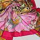 Шелковый платок с авторской ручной росписью оригинальный качественный батик в подарок