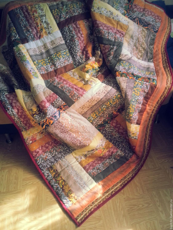 Покрывало на кровать в спальню КРАСКИ СЕНТЯБРЯ лоскутное покрывало, Пледы, Москва,  Фото №1