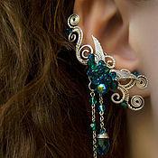 """Украшения ручной работы. Ярмарка Мастеров - ручная работа Кафф """"Emerald Angel"""" (изумрудные серьги, бирюзовый и изумрудный цвет). Handmade."""