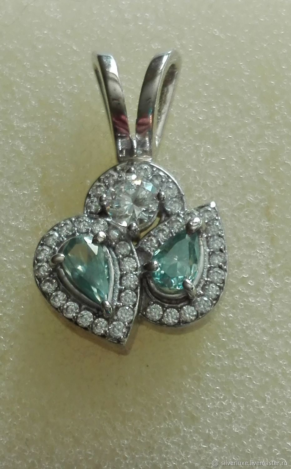 Pendant with two moissanites silver, Jewelry Sets, Novosibirsk,  Фото №1