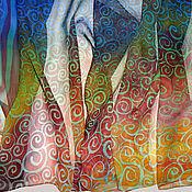 """Аксессуары ручной работы. Ярмарка Мастеров - ручная работа Батик шарф """"Дымка"""". Handmade."""