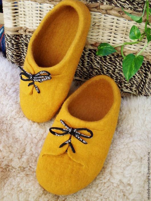 """Обувь ручной работы. Ярмарка Мастеров - ручная работа. Купить Валяные тапки унисекс """"Yellow submarine"""". Handmade. Домашние тапочки"""
