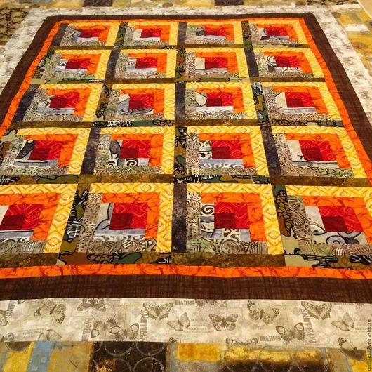 Текстиль, ковры ручной работы. Ярмарка Мастеров - ручная работа. Купить Лоскутный плед Гори огонь, гори... Handmade. Лоскутное
