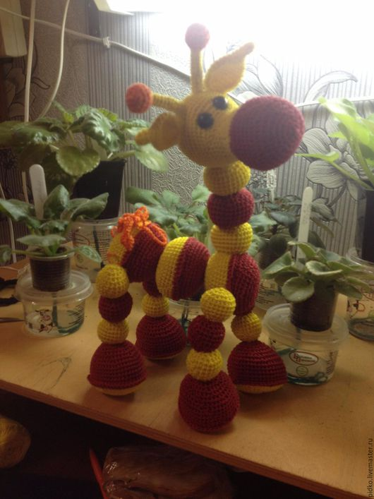 Игрушки животные, ручной работы. Ярмарка Мастеров - ручная работа. Купить Жираф из шариков. Handmade. Комбинированный, связано с любовью, жираф