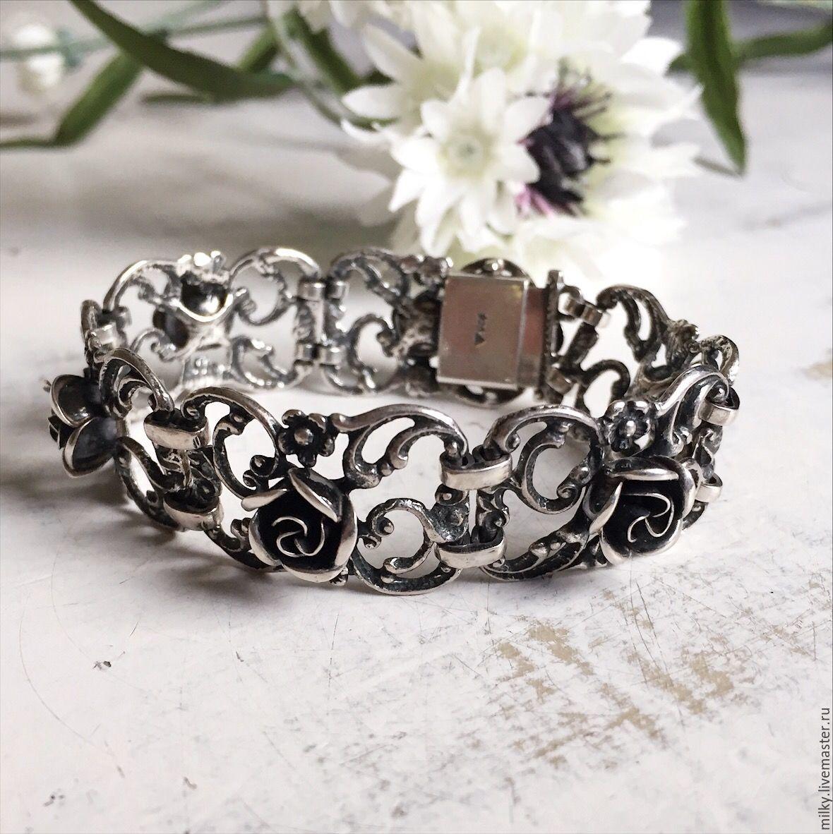 Серебряный браслет с розами