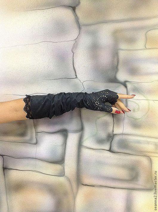 Варежки, митенки, перчатки ручной работы. Ярмарка Мастеров - ручная работа. Купить Митенки-перчатки из замши-стрейч с кружевом графит, синие, шоколад. Handmade.