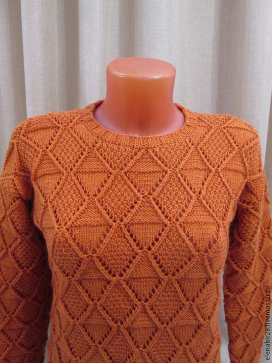Кофты и свитера ручной работы. Ярмарка Мастеров - ручная работа. Купить Вязаный спицами ажурный женский свитер. Handmade. Рыжий