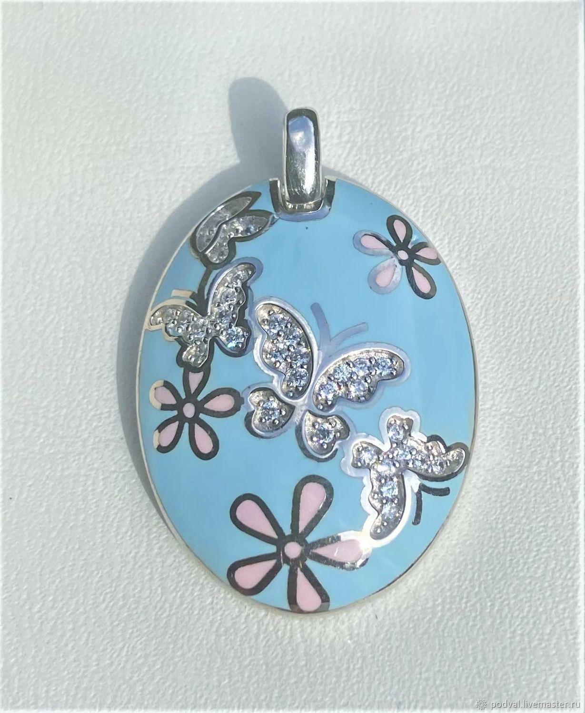 Silver pendant with enamel and cubic zirconia 'Butterflies', Pendants, Korolev,  Фото №1