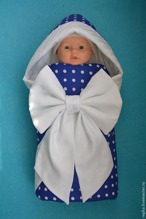 Для новорожденных, ручной работы. Ярмарка Мастеров - ручная работа. Купить Одеяло-конверт в горошек. Handmade. Орнамент, коляска