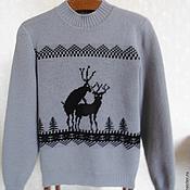 Одежда ручной работы. Ярмарка Мастеров - ручная работа Свитер вязаный с оленями. Handmade.