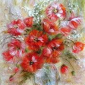 Картины и панно handmade. Livemaster - original item Picture of wool Scarlet Poppies. Handmade.
