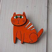 Украшения ручной работы. Ярмарка Мастеров - ручная работа Брошь деревянная Грустный кот. Handmade.