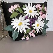 Сумки и аксессуары handmade. Livemaster - original item Leather bag .Bag with applique.Mini Spring bouquet black. Handmade.