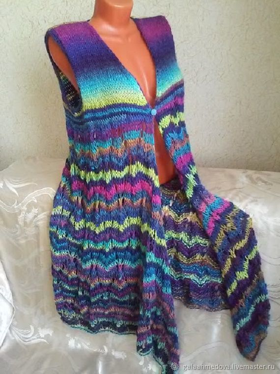 Knitted vest-Cape 'color Therapy' handmade, Vests, Dmitrov,  Фото №1