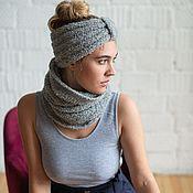 Аксессуары handmade. Livemaster - original item Warm knitted headband in grey Alpaca Cinza. Handmade.
