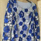 Одежда ручной работы. Ярмарка Мастеров - ручная работа Платье из кружева макраме сине-голубого цвета. Handmade.