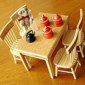 Материалы для творчества ручной работы. Ярмарка Мастеров - ручная работа Обеденная зона 1:12 для кукольной кухни Белая и неокрашенная. Handmade.